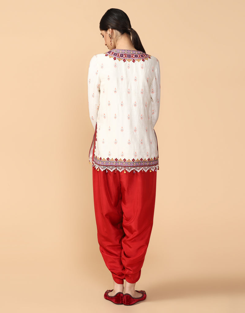 Short Kurta Paired With Dhoti Pants