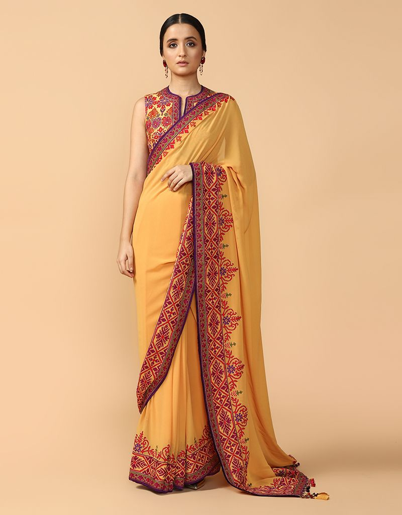 Embroidered Saree Paired With Gilet