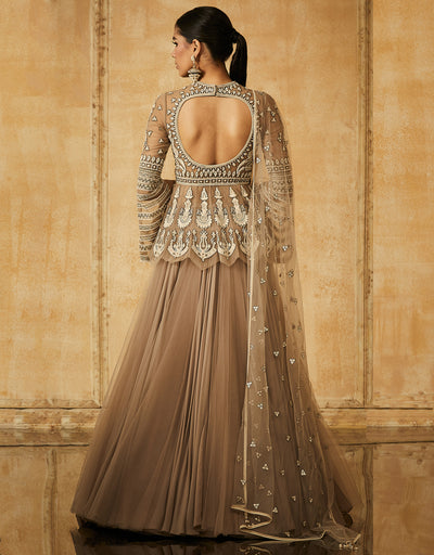 Kalidar Lehenga With Embroidered Peplum Blouse