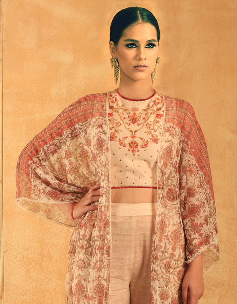 Egyptian Floral Print Net Jacket