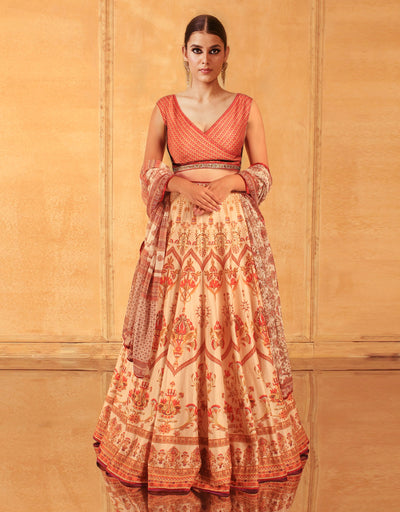 Egyptian Floral Print Lehenga With Dupatta
