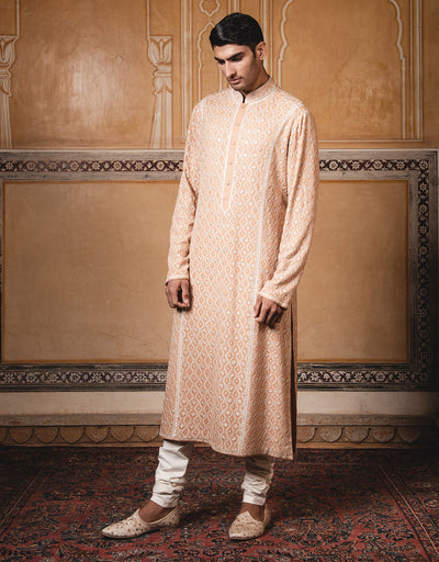 Kurta In Pure Georgette Featuring Intricate Thread Work. Paired With Coordinated Churidar.