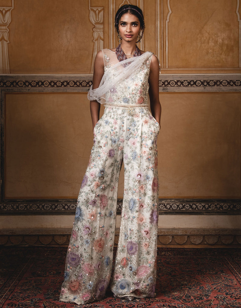 Jumpsuit Featuring Multi-Coloured Hand Embroidery On Crinkle Tulle With A Drape.