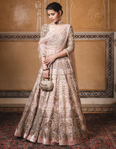 Anarkali In Tulle Featuring Resham And Badla Embroidery, Paired With A One Shoulder Drape With Diamond Detailing And A Churidar.