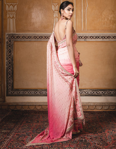 Handloom Saree In Zari Georgette With Embroidered Borders. Paired With A Lace Blouse Featuring A Mandarin Collar.