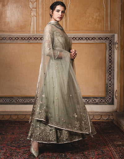Kalidar Kurta In Tulle With Lace Applique Work. Paired With A Tulle Dupatta And A Churidar.