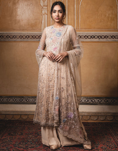 Straight Kurta In Tulle Featuring Multi-Coloured Floral Sheer Silk Applique Work, Highlighted With Sequins. Paired With A Resham Embroidered V-Neck Blouse And A Tulle Dupatta.