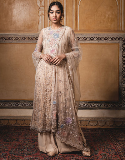 Straight Kurta In Tulle Featuring Floral Multi-Coloured Sheer Silk Applique Work, Highlighted With Sequins. Paired With Sharara Pants And A Tulle Dupatta