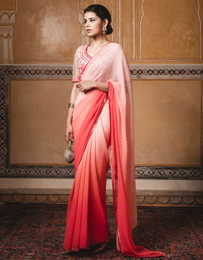 Ombre Chiffon Saree With Embroidered Half-Sleeves Blouse.