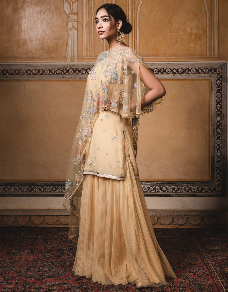 Sleeveless Short Kurti In Georgette With A Tulle Drape Featuring Multi-Coloured Hand Embroidery. Paired With Crinkled Tulle Sharara Pants.