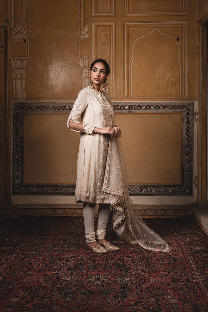 Kurta In Georgette With Multi-Coloured Appliqué Work And Resham Embroidery, Paired With A Tulle Dupatta & Trousers  In Cutwork Chanderi Fabric.