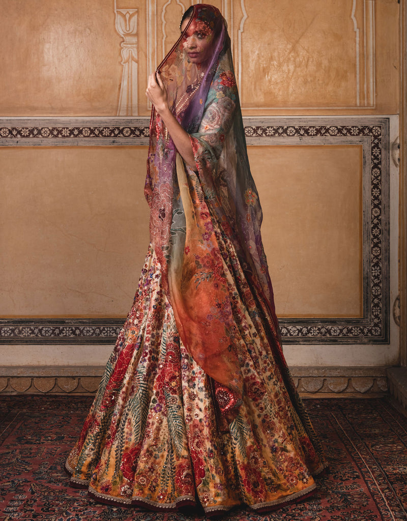 Kalidar Lehenga In Chanderi And Sheer Silk Featuring A Multi-Coloured Floral Print. Highlighted With Sequin Embroidery.