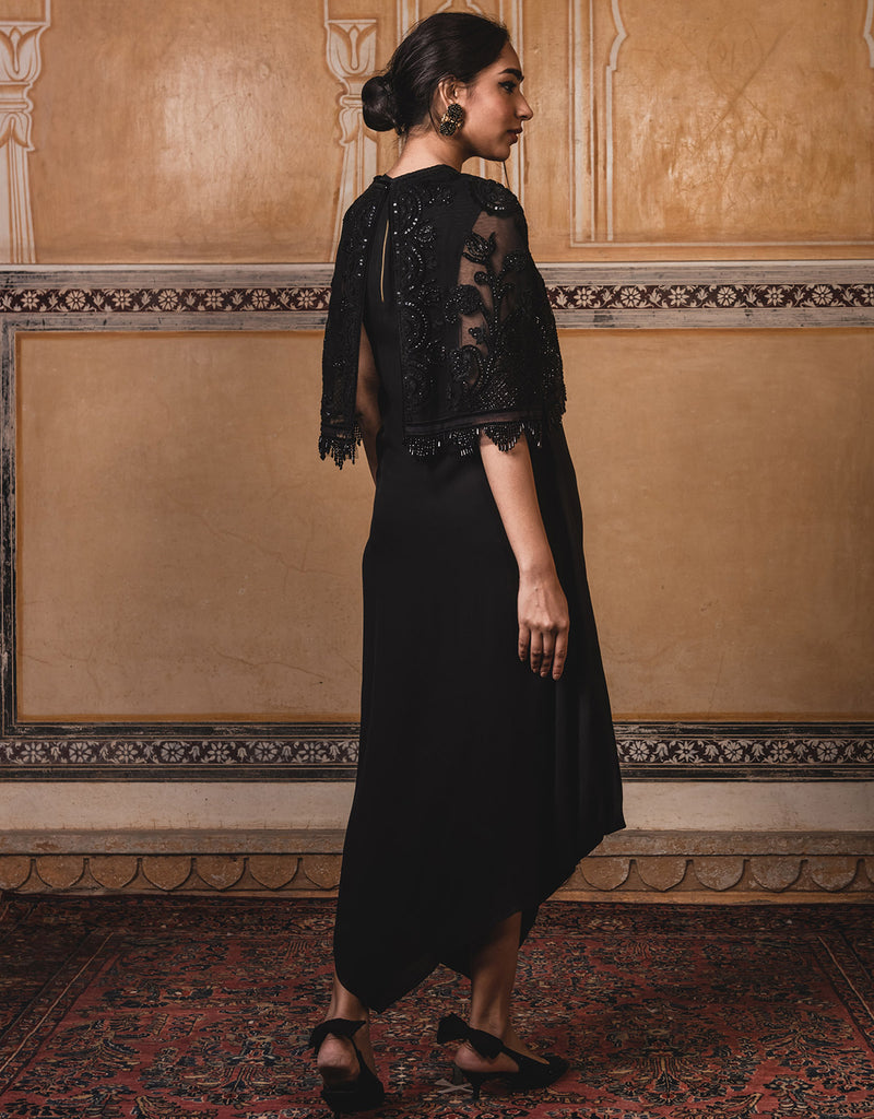 Front Open Cape In Tulle Featuring Velvet Appliqué Detailing And Delicate Resham Embroidery.