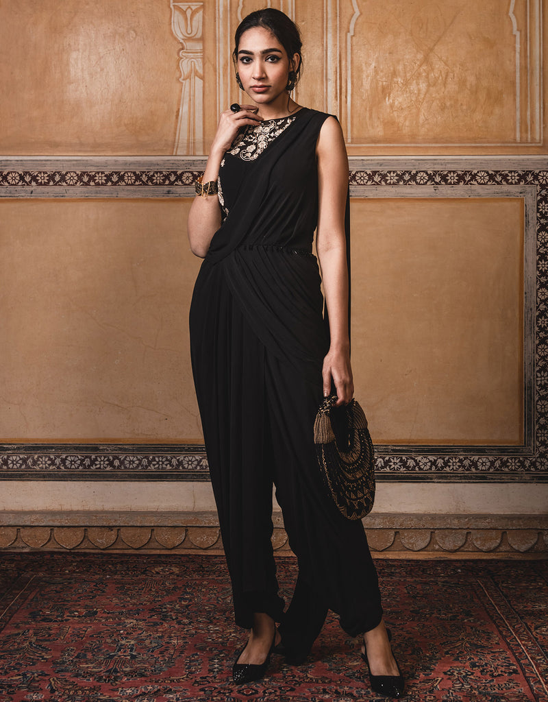 Pre-Draped Dhoti Saree In Georgette Featuring Badla And Resham Embroidery.