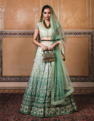 Lehenga In Raw Silk Featuring Mirror And Cut-Dana Embroidery. Paired With A Cap-Sleeves Blouse And An Ombre Tulle Dupatta