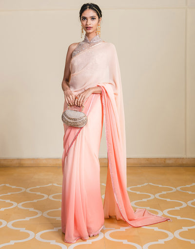 Classic Ombré Chiffon Saree, Paired With A Crystal Embellished Blouse.