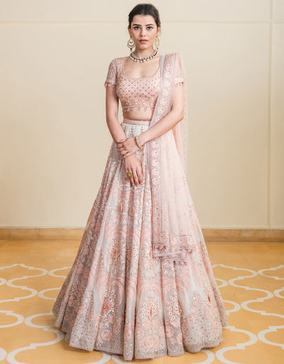 Kalidar Lehenga In Sheer Silk Featuring Resham And Tonal Sequin Embroidery, Is Accentuated With 3D Flowers. Paired With An Embroidered BlouseIn Tulle And An Ombre Tulle Dupatta.