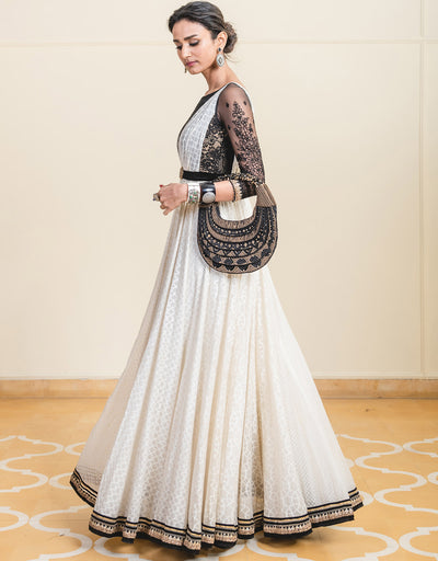 Anarkali In Chanderi Featuring A Lace Bodice And A Metallic Belt.