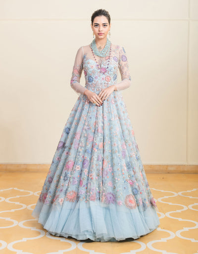 Anarkali In Italian Tulle Featuring Multi-Coloured Floral Hand Embroidery, With Un Under-Layer Of Crinkled Tulle. Paired With A Tulle Skirt.