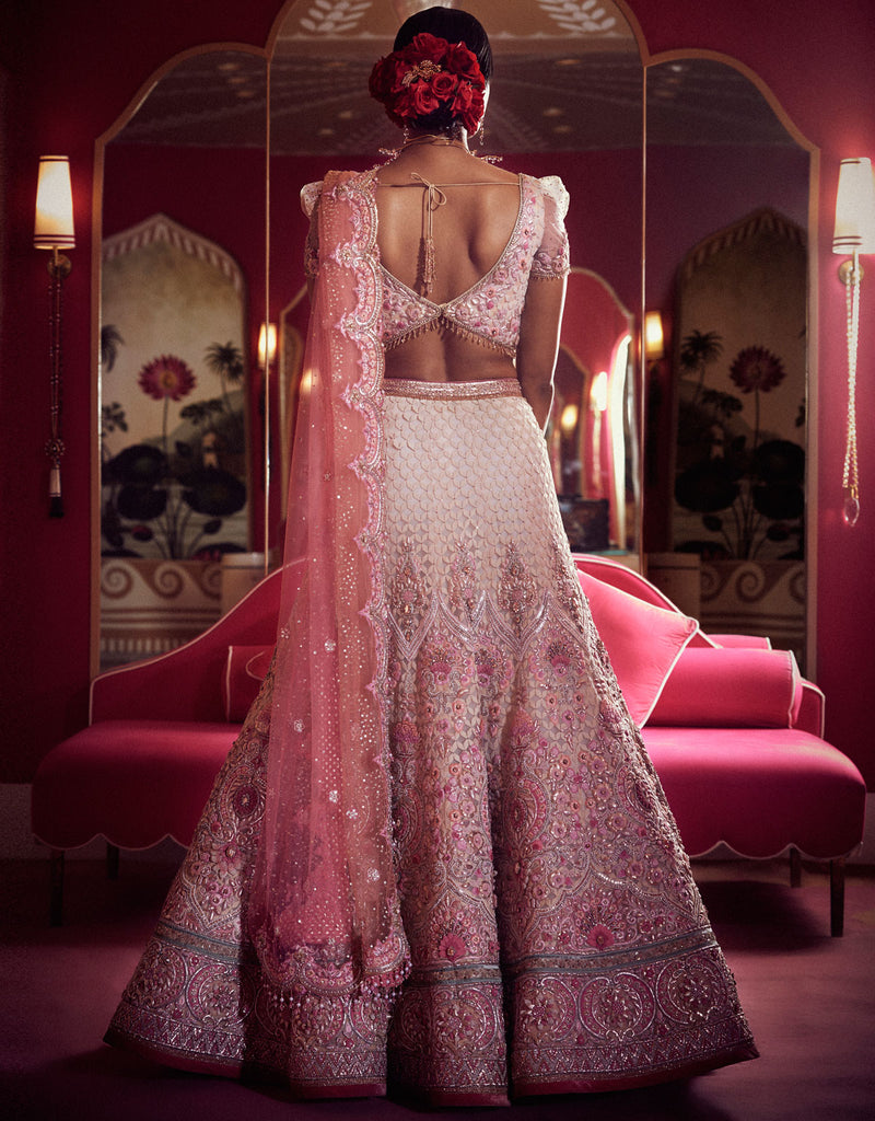 Bridal Lehenga Featuring Laser Cut Trellis Work In Velvet Highlighted With Gota Embroidery, Diamond Details And 3D Flowers. Paired With A Blouse With Embroidered Sleeves And A Tulle Dupatta With Scallop Detailing.