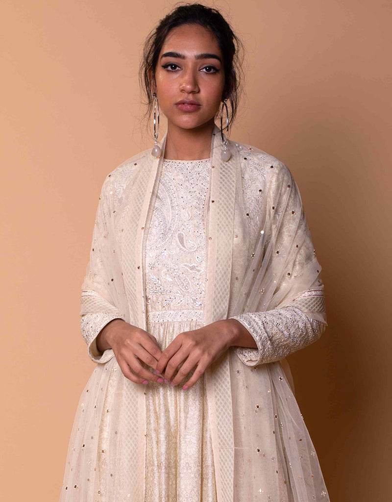 Printed Anarkali In Chanderi With Fine Chikankari Detailing On The Neckline.