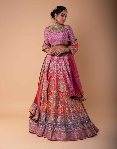 Ombre Kalidar Lehenga Featuring Kashida Embroidery. Paired With A Blouse In Silk Dupion And A Shaded Tulle Dupatta.