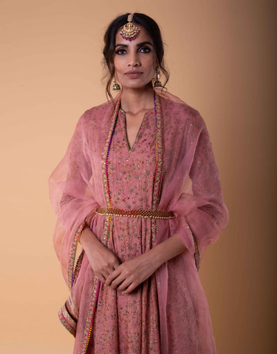 Kalidar Kurta In Spun Silk Embroidered With Zari, Sequins And French Knots. Paired With A Dupatta In Sheer Silk.