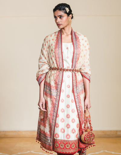 Straight Fit Kurta In Silk Featuring Hand-Embroidered French Knots. Paired With A Handloom Embroidered Dupatta And Churidar.