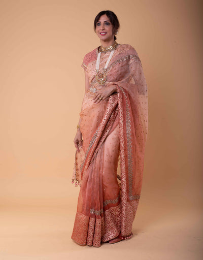 Ombre Saree In Sheer Silk Featuring Zari Embroidery And Sequin Detailing. Paired With A Textured Trellis Blouse.