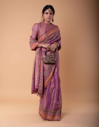 Saree In Zari Tissue Featuring Kashida Embroidered Borders Paired With Embroidered Blouse