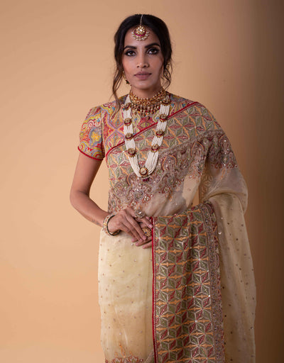 Shaded Saree In Sheer Silk. Paired With A Multi Coloured Embroidered Blouse.