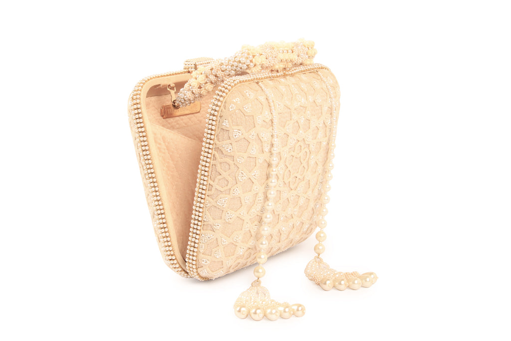 Jaal Embroidered Tassel Clutch