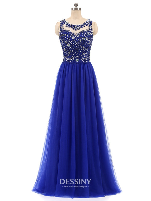 9d61d082e8a High Neck Tulle Long Prom Dresses with Beads   Lace Appliques – Dessiny