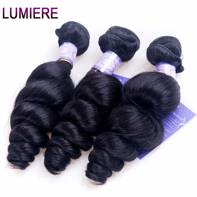 Lumiere Hair Peruvian Loose Wave Hair Extensions Human Hair Bundles Natural Black Non Remy Hair 12-28 inch Can Buy 3/4 Bundles