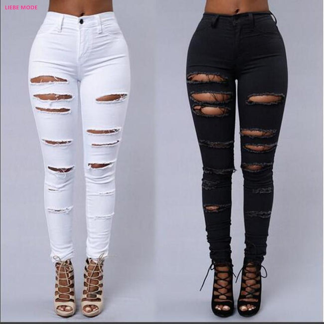 Broken Hole Stretch Pencil Jeans