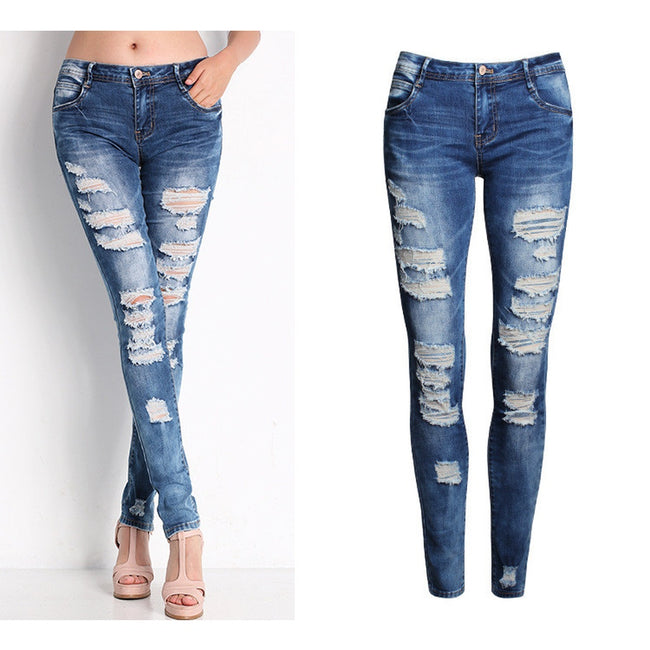 Ladies Cotton Denim Stretch  Bleach Ripped Skinny Jeans