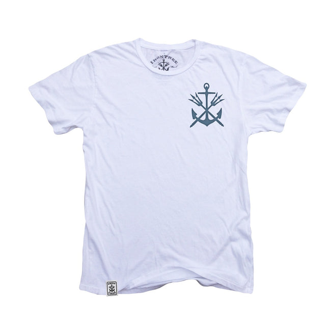Anchor & Tridents ll: Organic Fine Jersey Short Sleeve T-Shirt in White