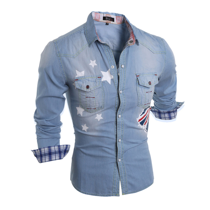 2016 New Fashion Denim Jeans Shirt Men Cotton Slim Fit Brand Casual Shirts Long Sleeve Mens Cowboy Shirt Camisa Jeans Masculina