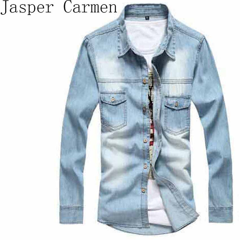 2016 New Vintage Men's Fashion Denim Shirt Long Sleeve Light Blue Jeans Shirt Top quality Hot Selling  Size M-3XL 38z