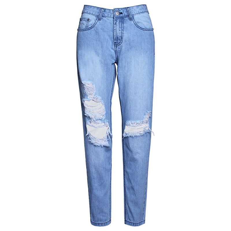 2016 New Arrival Women Jeans Mid Waist Women Hole Pants Summer Denim Jeans Pants Light Washed Loose Cotton Trousers