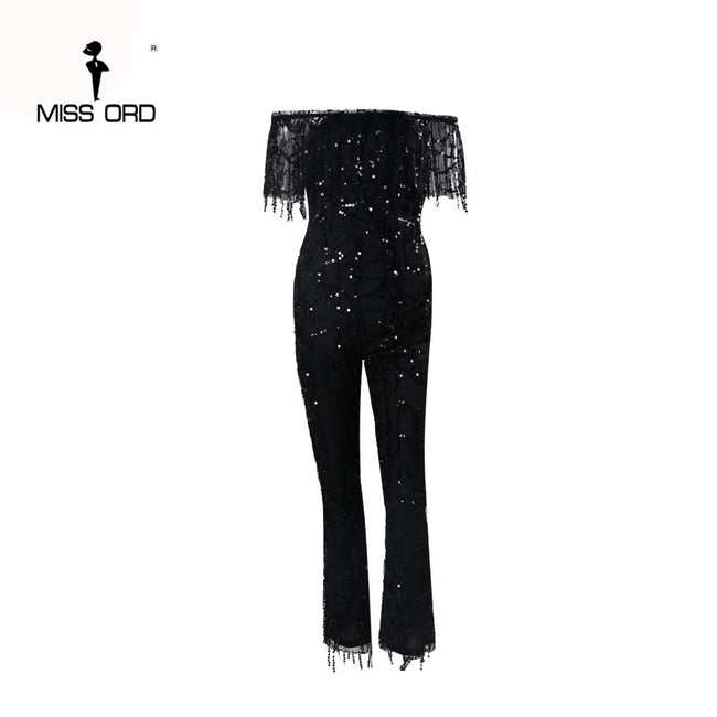 Free Shipping Missord 2017 Sexy Word shoulder sequin jumpsuit FT4380