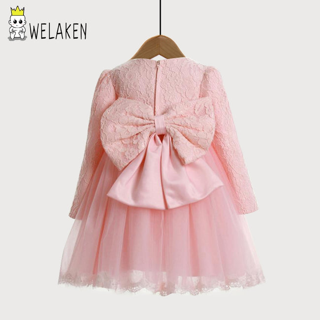 weLaken 1-10Y Girl Dresses Pink Long Sleeve Lace Big Bow Tutu Princess Wedding Party Dresses For Baby Kids Toddler Teen Girls