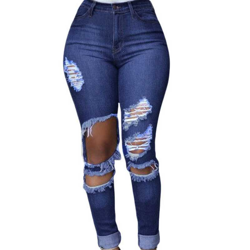 2016 Worn Hole Jeans Woman Casual Ripped Jeans For Women Pencil Jeans With High Waist Pants Women's Jeans Femme Vintage Denim