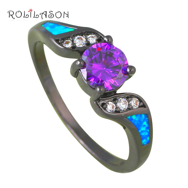 Fashion cz rings for teen girls Blue Fire Opal Black Gold Tone ...