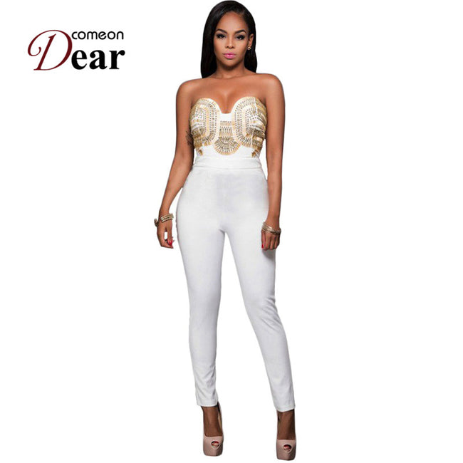 RB80328 New Style Rompers Womens Jumpsuit Off-Shoulder White Gold Embellished Strapless Bodycon Jumpsuit 2017 Bodysuit Women