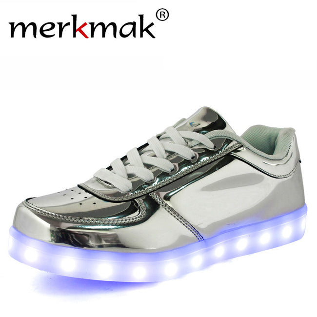 Hot 8 colors Shining Shoes With LED Laser Light Fashion Casual Unisex Leather Surface Gold Silver USB Light Up Shoes For Adults