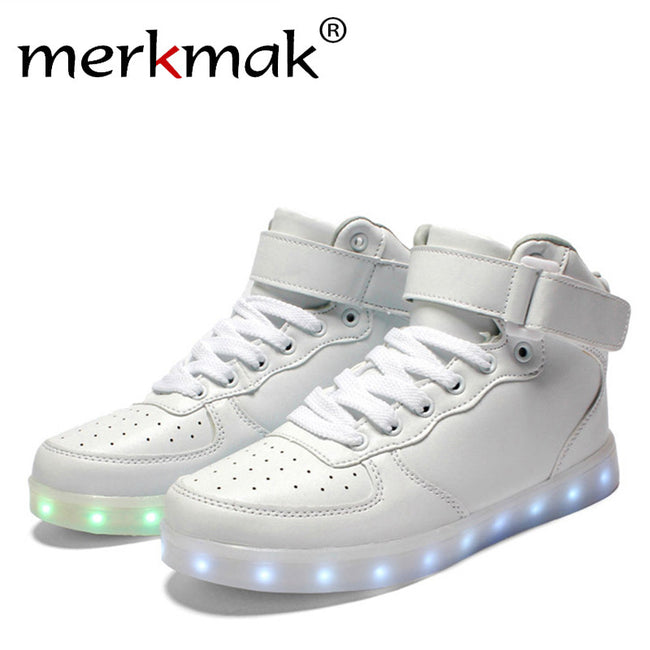 New 2017 Big Size 35-46 USB LED Light Shoes Men Male 7 Colors Glowing Fashion Led Shoes Flats High-top Adults Lumineuse Shoes