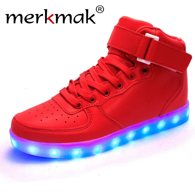 Merkmak  2017 Unisex Lights Up Led Luminous Shoes High Top Glowing Casual Shoe With Simulation Sole Shoes For Men Big Size 35-46