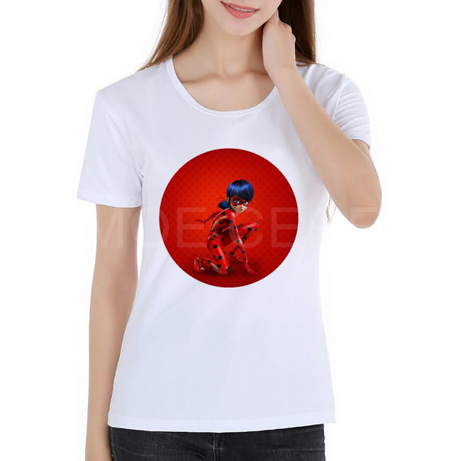 3D Cartoon Lady Bug Women Shirt Miraculous Cartoon T-shirt Women Tops Summer Short Sleeves Teen Clothes Girl Shirts K11-1#