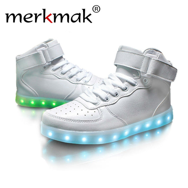 Merkmak Ankle Boots White Black Red Light Up Shoes Unisex LED Shoes For Adults USB Charging High Top Dance Shoes Plus Size 35-46
